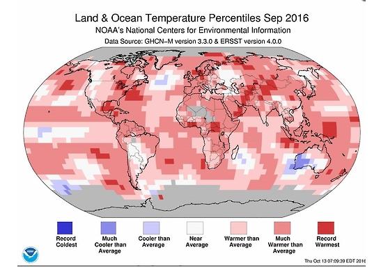 9월 세계 기온 편차 (NOAA)