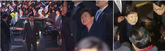 박근혜 전 대통령 사저 도착 (사진= SBS 중계화면 2017.03.12)