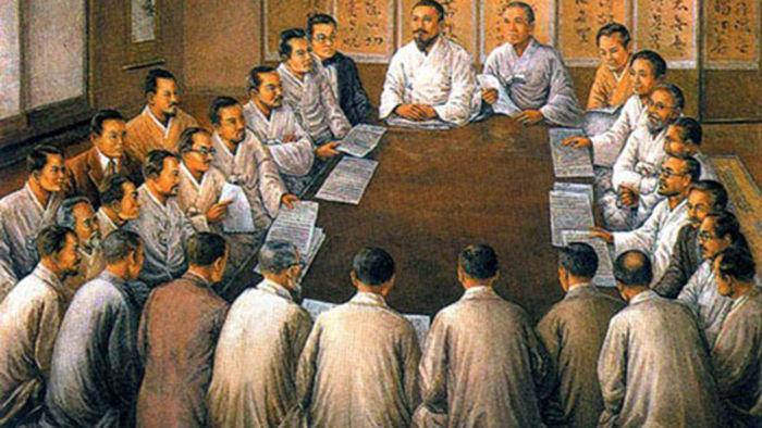 3·1 운동 당시 <독립선언서>에 서명한 민족대표 33인. 기독교 측 16명, 천도교 측 15명, 불교 측 2명으로 구성됐다. 3.1 운동을 촉발한 주역들이지만 조선 민중보다 소극적으로 행동했다는 평가도 나온다.