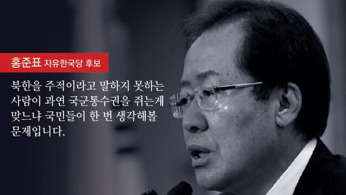 """홍준표 """"북한을 주적이라고 말하지 못하는 사람이 과연 국군통수권을 쥐는 게 맞느냐 국민들이 한 번 생각해볼 문제입니다."""""""