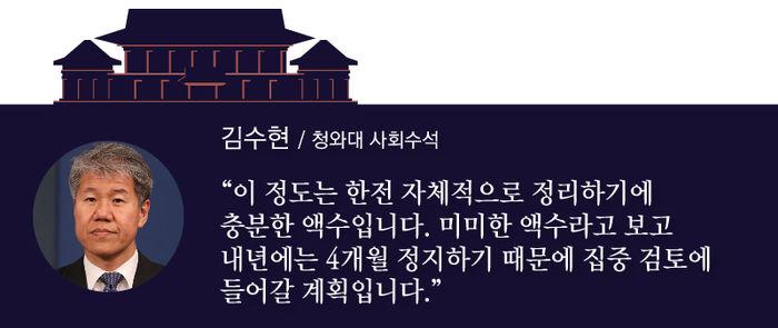 """[김수현 / 청와대 사회수석] """"이 정도는 한전 자체적으로 정리하기에 충분한 액수입니다. 미미한 액수라고 보고 내년에는 4개월 정지하기 때문에 집중 검토에 들어갈 계획입니다."""""""
