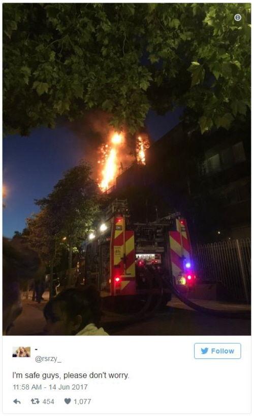 런던 화재 아파트 내부서 올라온 실시간 트윗…'완전히 갇혔다