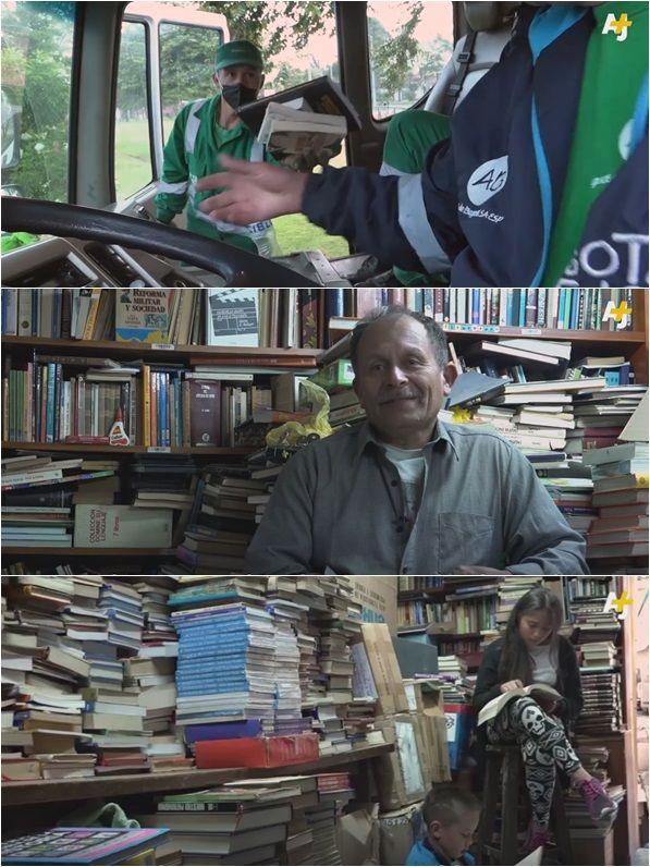 버려진 책 모아 도서관 운영중인 콜롬비아 남성
