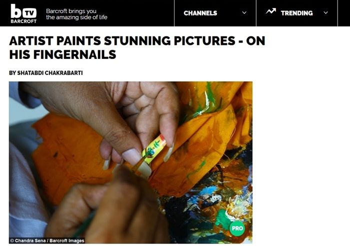 직접 기른 손톱에만 그림을 그리는 인도 남성