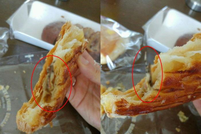 유명 브랜드 빵 먹다가... 빵속에서 여치가?