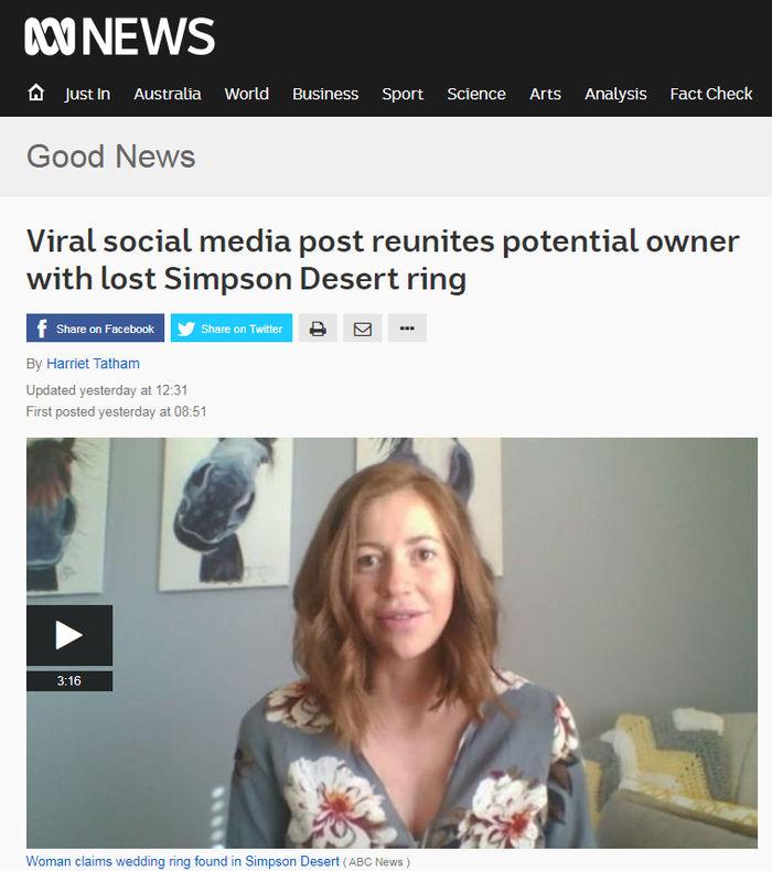 [뉴스pick] 사막 한가운데서 잃어버린 결혼반지…극적으로 돌아온 사연(사진 = 호주ABC 홈페이지 캡처, 페이스북 ABC Western Queensland, Elizabeth Docherty)
