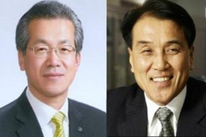 박재경 BNK 금융지주 직무대행(왼쪽)과 김지완 하나대투증권 대표이사