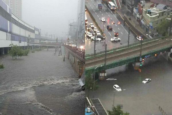SNS에서 난리 난 부산 폭우 아수라장