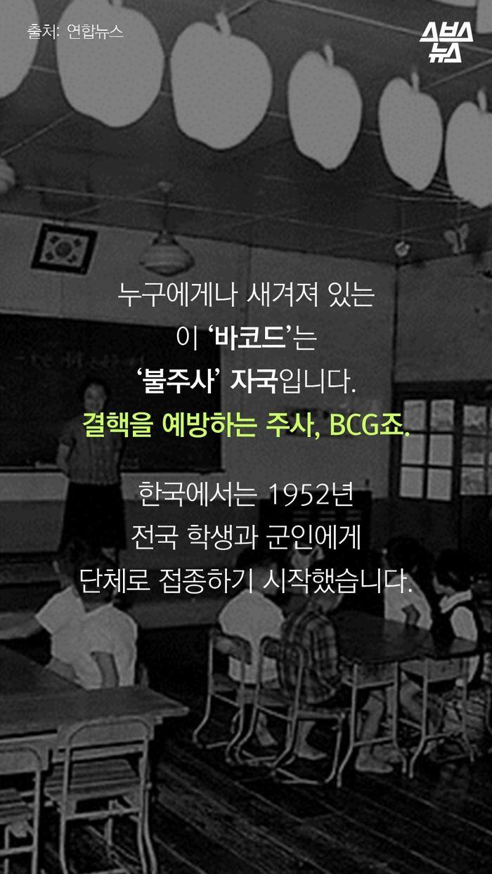 누구에게나 새겨져 있는 이 '바코드'는 '불주사' 자국입니다. 결핵을 예방하는 주사, BCG죠.  한국에서는 1952년 전국 학생과 군인에게 단체로 접종하기 시작했습니다.