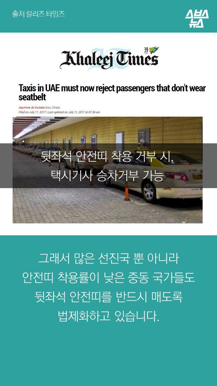 그래서 많은 선진국 뿐 아니라 안전띠 착용률이 낮은 중동 국가들도 뒷좌석 안전띠를 반드시 매도록 법제화하고 있습니다.