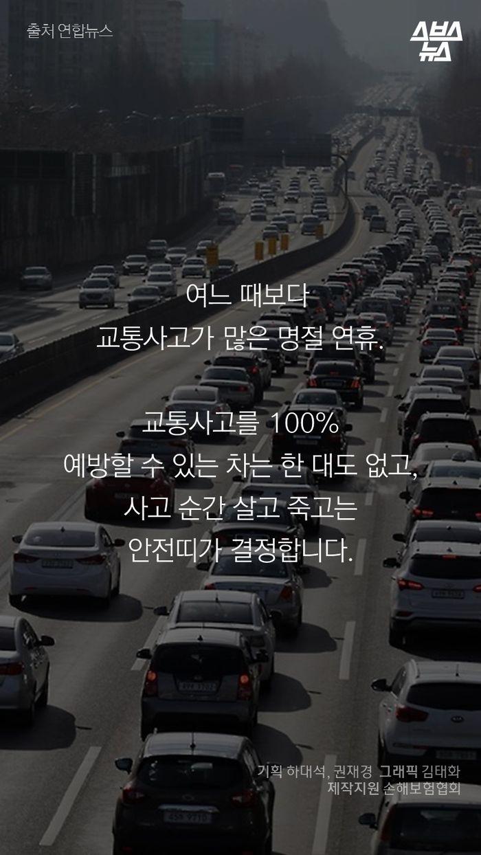 여느 때보다  교통사고가 많은 명절 연휴.  교통사고를 100%  예방할 수 있는 차는 한 대도 없고,  사고 순간 살고 죽고는  안전띠가 결정합니다.