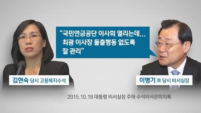 이병기 전 당시 비서실장, 김현숙 당시 고용복지수석 대화 CG