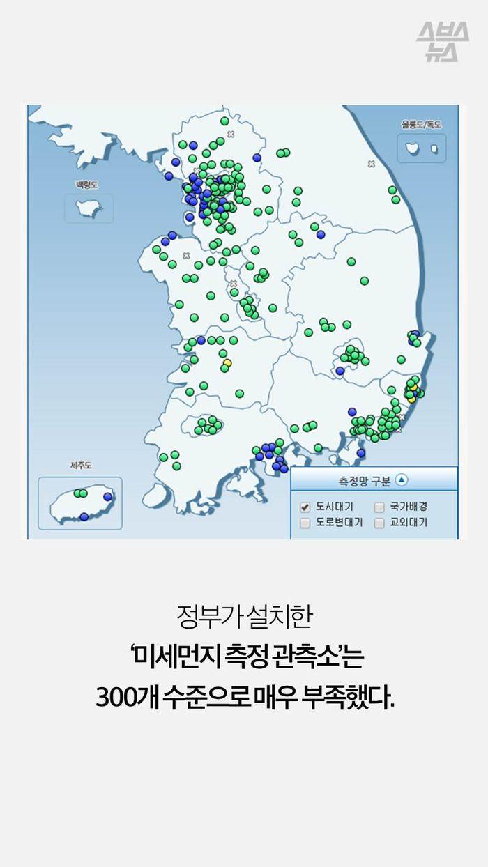정부가 설치한  '미세먼지 측정 관측소'는 300개 수준으로 매우 부족했다.