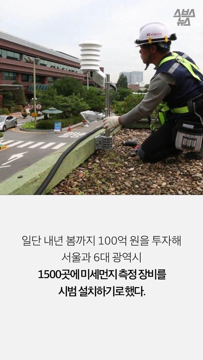 일단 내년 봄까지 100억 원을 투자해 서울과 6대 광역시  1500곳에 미세먼지 측정 장비를  시범 설치하기로 했다.