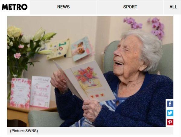 아무런 연고 없이 100살 생일 맞은 할머니…600개 넘는 편지 받아