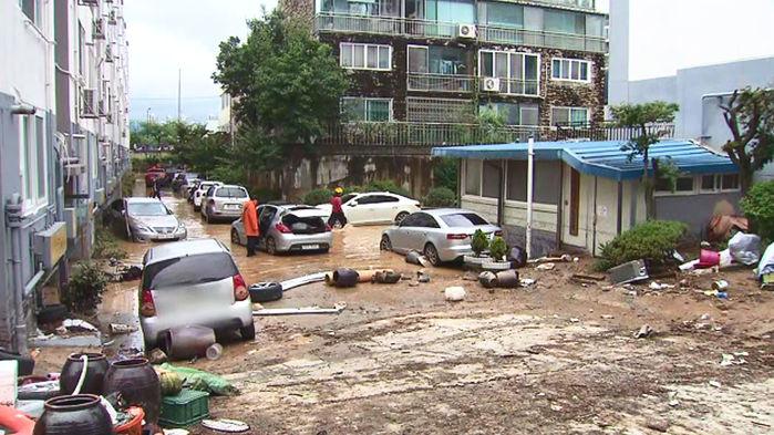 대전 정림동 아파트 침수 피해 현장