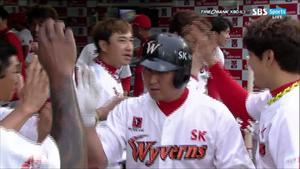 [KBO] SK, '최정 홈런+정의윤 동점타' LG에 역전승