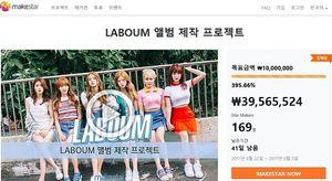 크라우드펀딩 플랫폼 메이크스타, 라붐 앨범 제작 프로젝트 시작 5분만에 100% 달성