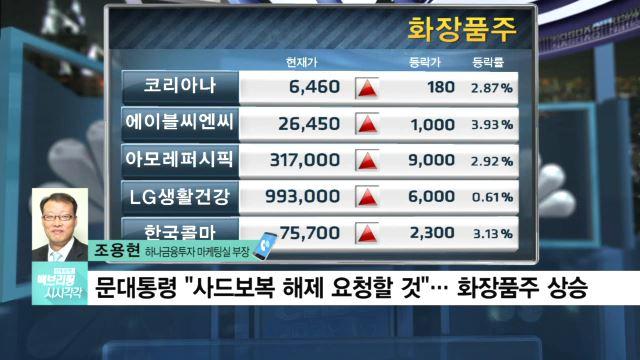 문 대통령 사드보복 해제 요청 기대…화장품주 상승