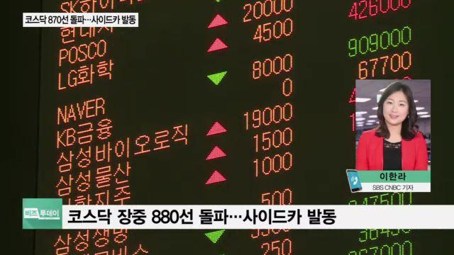 '파죽지세' 코스닥, 870선도 돌파…장중 한때 사이드카 발동