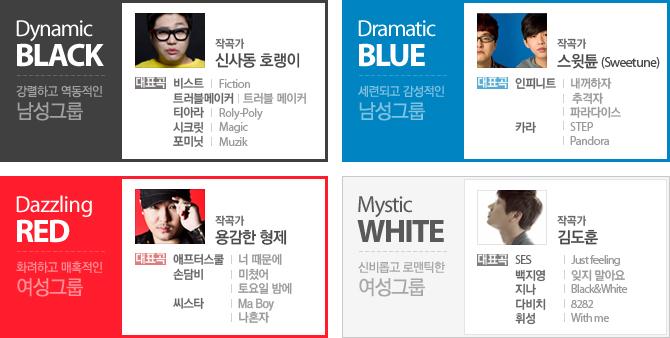 BLACK - 신사동 호랭이, BLUE - 스윗튠, RED - 용감한 형제, WHITE - 김도훈WHITE
