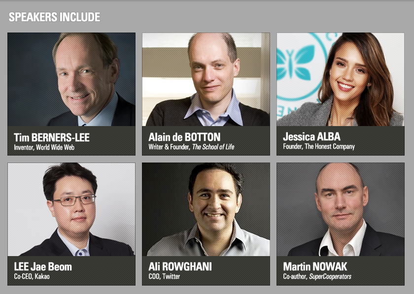 keynote speakers_BERNERS-LEE,Tim/de BOTTON, Alain/NOWAK, Martin A./LEE Jae Beom/EBELING, Mick/ALBA, Jessica