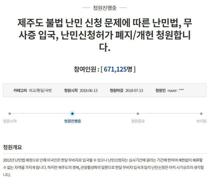 청와대 난민 수용 반대 청원 현황(사진=청와대 국민청원 게시판 캡처)