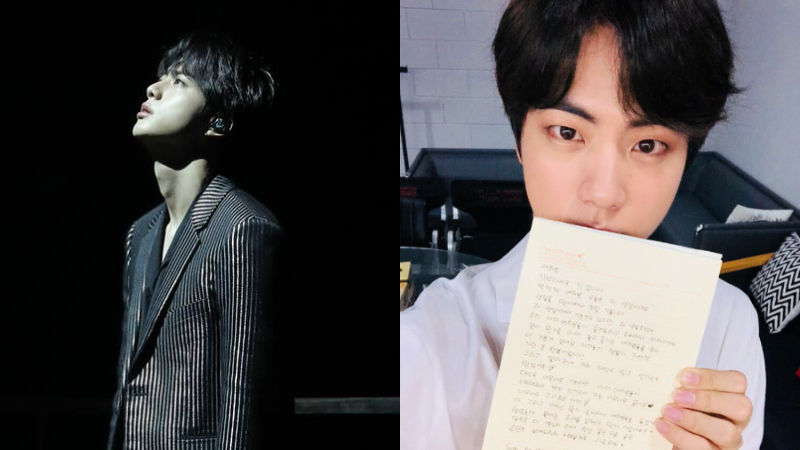 기사 대표 이미지:[SBS Star] BTS JIN Expresses Thanks to Fans with a Handwritten Letter