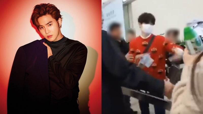 기사 대표 이미지:[SBS Star] Security Guard Blocks Fans from Giving SUHO Letters but He Takes Them Anyway!