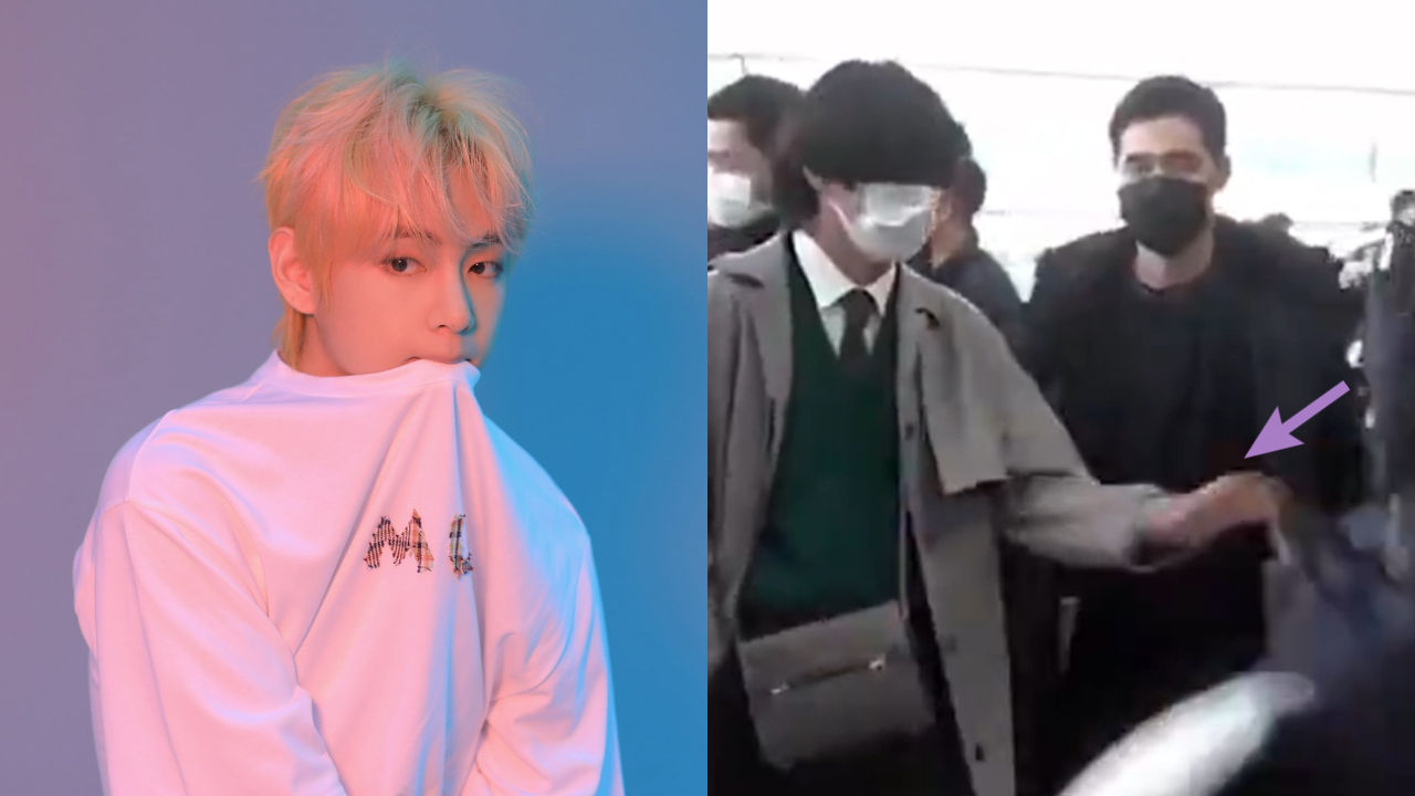기사 대표 이미지:[SBS Star] VIDEO: BTS V Saves a Reporter from Injury at the Airport
