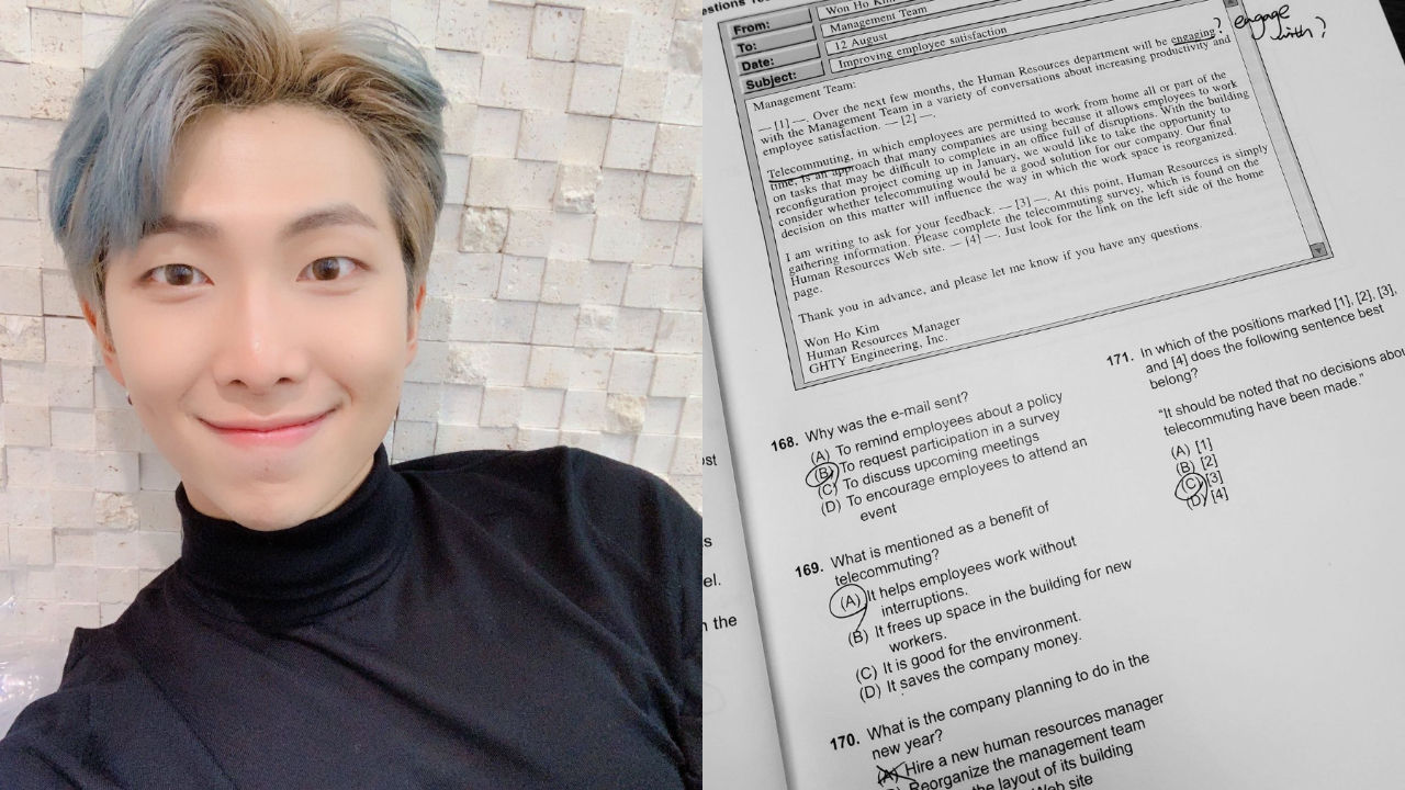 기사 대표 이미지:[SBS Star] RM Shares Why He Is Studying for an English Test & Nobody Can Relate to Him