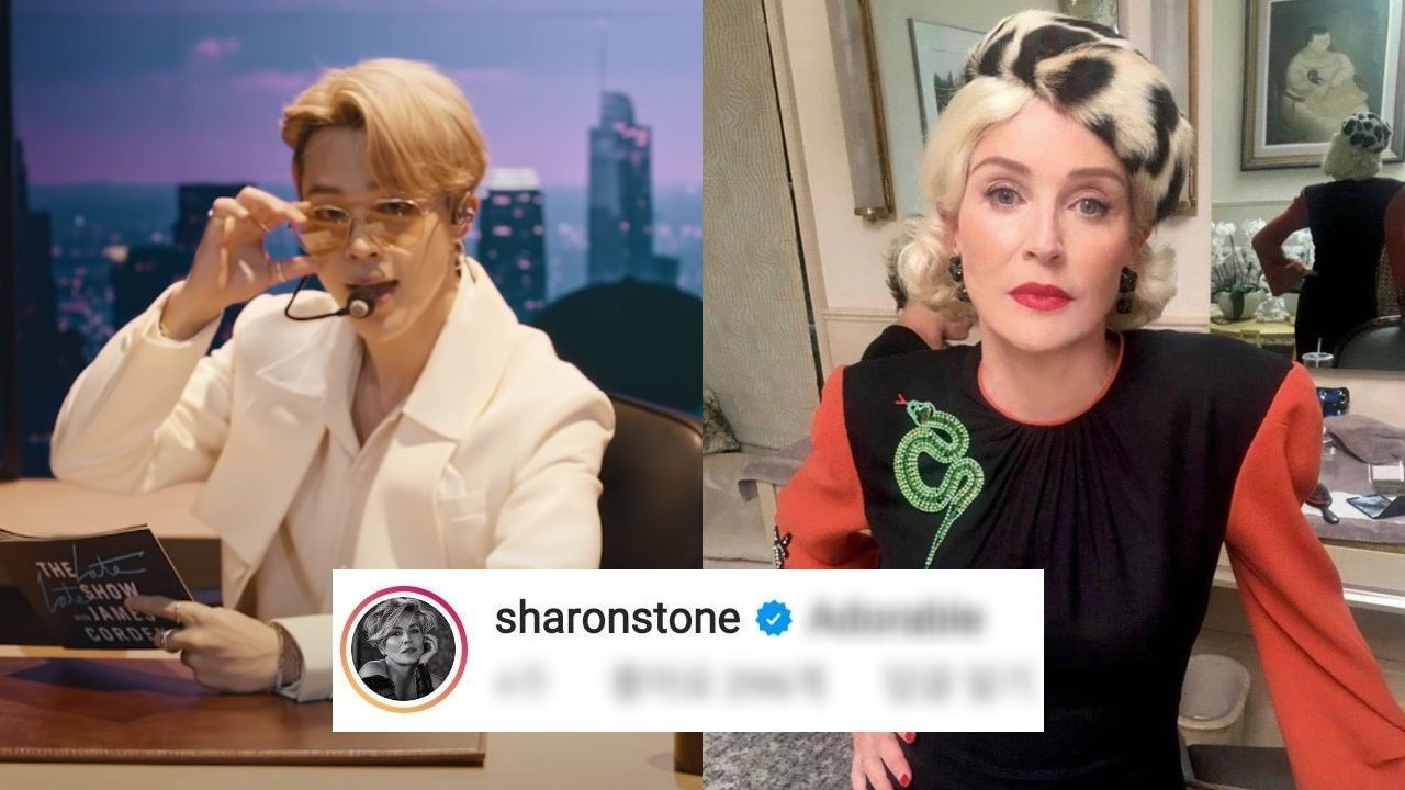 "기사 대표 이미지:[SBS Star] Sharon Stone Falls in Love with ""Baby Mochi"" BTS JIMIN?"
