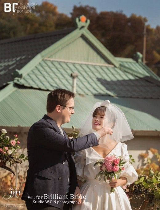 개그우먼 김혜선, 독일인 남편과 결혼…펄쩍펄쩍 뛰며 신부입장  기본이미지